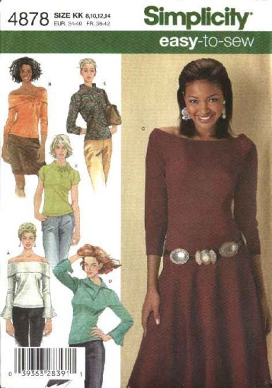 Simplicity Sewing Pattern 4878 Misses Size 16-18-20-22-24 Easy  Knit Tops Collar Sleeve Variations