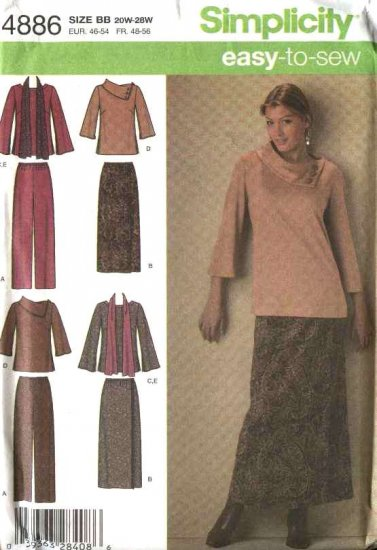 Simplicity Sewing Pattern 4886 Misses Size 10-18  Easy Mock Wrap Skirt Pants Top Scarf