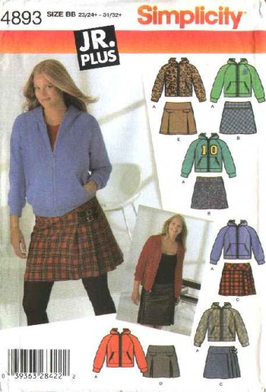 Simplicity Sewing Pattern 4893 Junior Plus size 13/14+-21/22+ Mini Skirt Kangeroo Jacket Hoodie