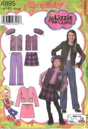 Simplicity Sewing Pattern 4895 Girls Size 3-6 Wardrobe Jacket Skirt Pants Vest Hat Lizzie McGuire