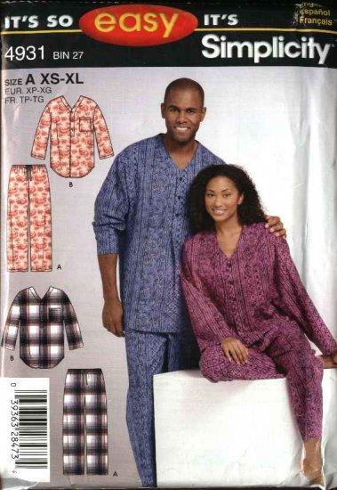 Simplicity Sewing Pattern 4931 Mens Misses Teens Size XS-XL Easy Pants Top Nightshirt Pajamas