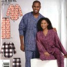 Simplicity Sewing Pattern 4931 Mens Misses Teens Size XS-XL Easy Pants Top Nightshirt Pajamas