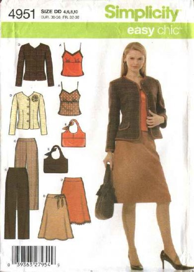 Simplicity Sewing Pattern 4951 Misses Size 4-10 Easy Wardrobe Skirt Top Jacket Pants Camisole Purse