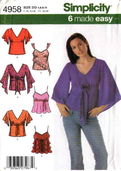 Simplicity Sewing Pattern 4958 Misses Size 4-6-8-10  Easy  Camisole Raised Waist Tops