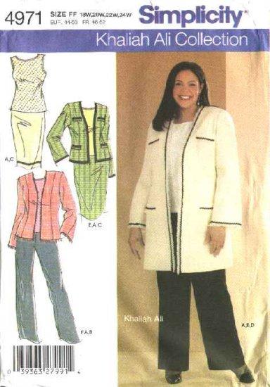 Simplicity Sewing Pattern 4971 Womans Plus Size 18W-24W Wardrobe Top Skirt Jacket Pants Suit