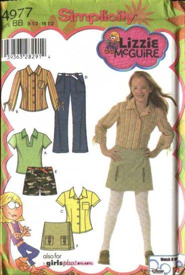 Simplicity Sewing Pattern 4977 Girls Size 8-16 Pants Shorts Skort Knit Top Shirt Blouse