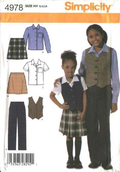 Simplicity Sewing Pattern 4978 Girls Size 3-6 Pleated A-line Skirt Shirt Vest Pants School Uniform