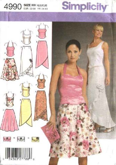 Simplicity Sewing Pattern 4990 Misses Size 6-8-10-12 Formal Top Skirt Two-Piece Dress Purse