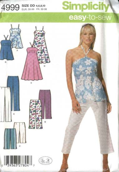 Simplicity Sewing Pattern 4999 Misses Size 12-14-16-18 Cropped Pants Dress Halter Top Shorts