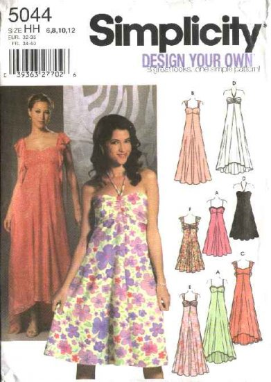 Simplicity Sewing Pattern 5044 Misses Size 6-12 Evening Dresses Formal Gowns
