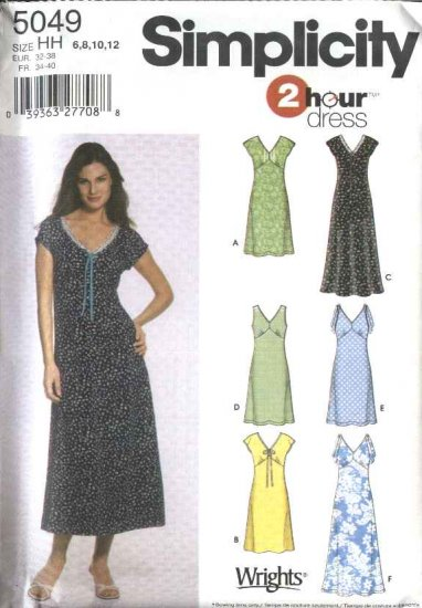 Simplicity Sewing Pattern 5049 Misses Size 6-8-10-12 2 Hour Pullover Summer Dresses
