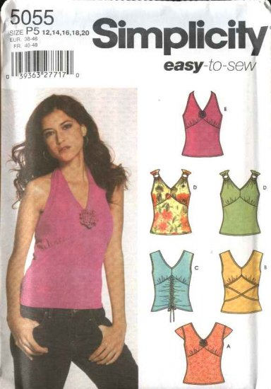 Simplicity Sewing Pattern 5055 Misses Size 12-20 Easy Knit Pullover Halter Summer Tops