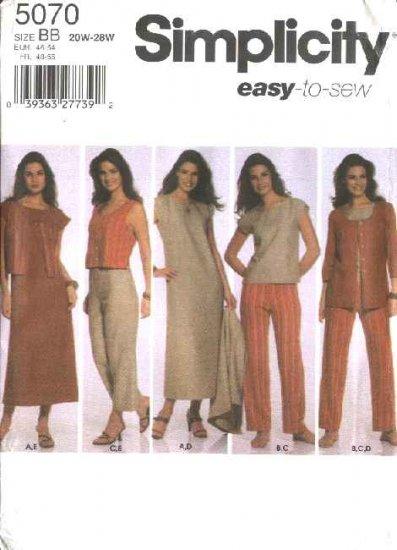 Simplicity Sewing Pattern 5070 Womans Plus Size 20W-28W Easy Wardrobe Dress Top Pants Jacket Vest