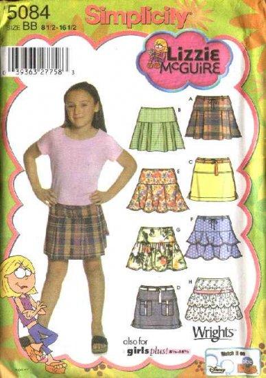 Simplicity Sewing Pattern 5084 Girls Plus Size 8½-16½ Pleated Ruffled Straight Mini Skirts
