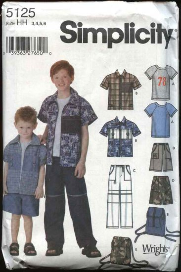 Simplicity Sewing Pattern 5125 Boys Size 7-14 Wardrobe Shirt Knit T-shirt Pants Shorts Backpack