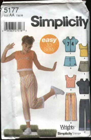 Simplicity Sewing Pattern 5177 Girls Size 7-10 Easy Wardrobe Knit Top Jacket Shorts Pants Skort