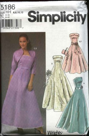 Simplicity Sewing Pattern 5186 Misses Size 6-12 Formal Evening Gown Prom Dress Strapless Shrug