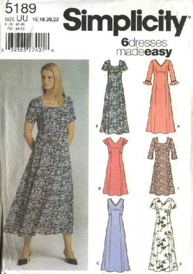 Simplicity Sewing Pattern 5189 Misses Size 8-10-12-14 Easy Pullover Dress Sleeveless Long Sleeves