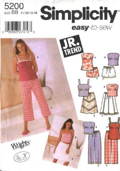 Simplicity Sewing Pattern 5200 Junior Size 11/12 - 15/16  Easy Wardrobe Tunic Top Pants Skirt Shorts