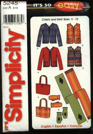 Simplicity Sewing Pattern 5245 Childs Girls Size 3-12 Easy Jacket Vest Fleece Scarf Purse Mittens
