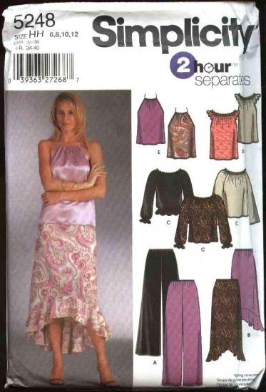 Simplicity Sewing Pattern 5248 Misses Size 6-12 Pullover Halter Tops Pull-on Skirts Pants