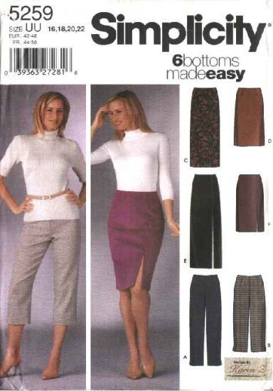 Simplicity Sewing Pattern 5259 Misses Size 8-10-12-14 Easy Classic Slim Pants Straight Skirts