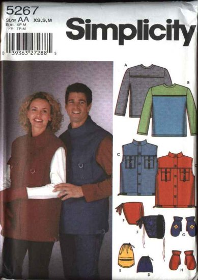 """Simplicity Sewing Pattern 5267 Mens Misses Size Chest 30 -40"""" Knit Top Fleece Vest Hats Mittens Hood"""