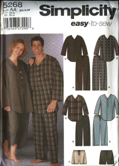 """Simplicity Sewing Pattern 5268 Misses Mens Size Chest 30 - 40"""" Easy Pajamas Pants Shorts Nightshirt"""
