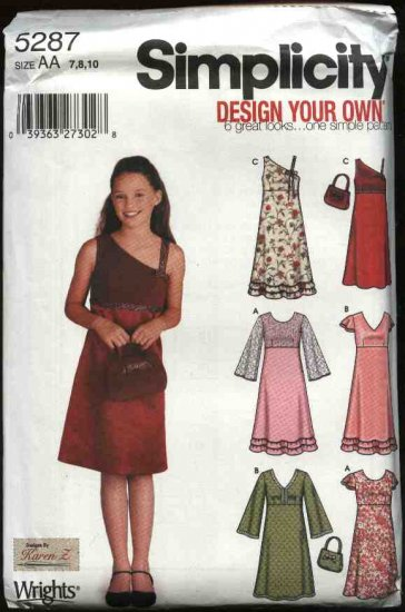 Simplicity Sewing Pattern 5287 Girls Size 7-8-10  Long Short Sleeve Raised Waist Dresses Purse