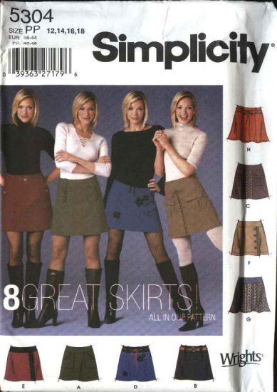 Simplicity Sewing Pattern 5304 Misses Size 12-14-16-18 A-Line Flared Mini-skirts Trim Variations