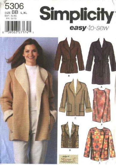 Simplicity Sewing Pattern 5306 Misses Size 18-20-22-24 Easy Wrap Front Coat Jacket Vest