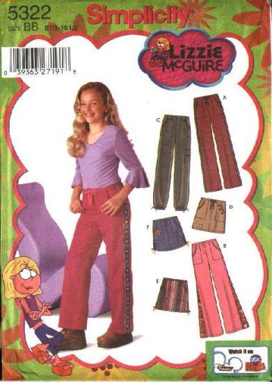 Simplicity Sewing Pattern 5322 Girls Plus Size  8 ½ - 16 ½  Pants Skirt Trim Variations