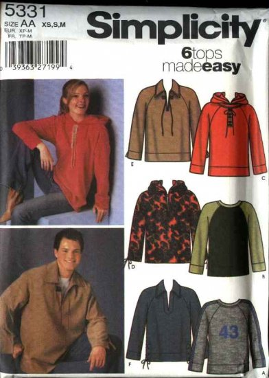 """Simplicity Sewing Pattern 5331 Misses Mens Unisex Size 30 -40"""" Easy Tops Hooded Pullover Hoodie"""