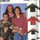 Simplicity Sewing Pattern 5332 Misses Mens Boys Girls All Sizes Pullover Hooded Tops Headband