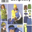 Simplicity Sewing Pattern 5333 Misses Mens Boys Girls Dogs All Sizes Vest Mittens Hats Blanket Scarf