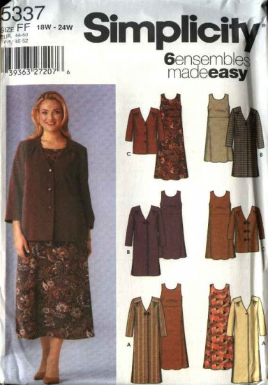 Simplicity Sewing Pattern 5337 Womans Plus Size 18W-24W Easy  Dress Jacket Coat