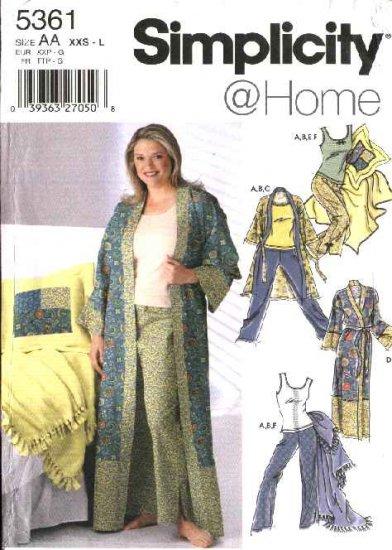 Simplicity Sewing Pattern 5361 Misses Size 4-20 Wardrobe Robe Pants Knit Tank Top Blanket