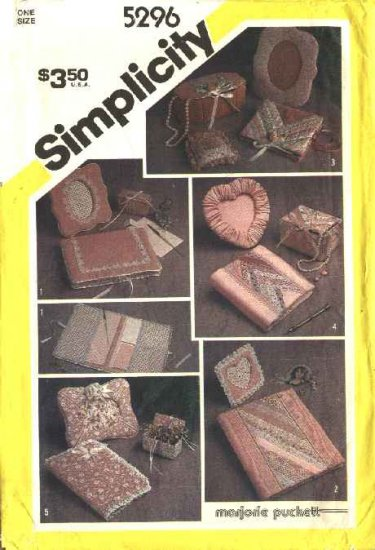 Simplicity Sewing Pattern 5296 Desk Dresser Accessories Picture Frames Book Covers