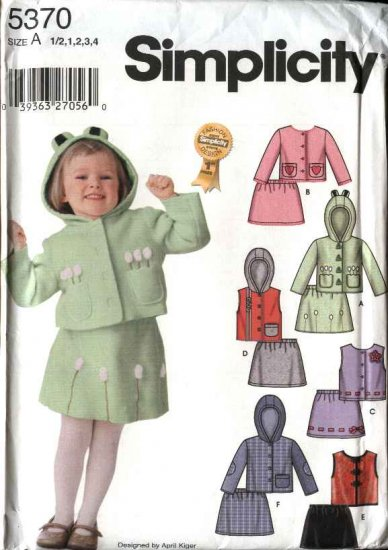 Simplicity Sewing Pattern 5370 Toddlers Girls Size ½-4 Appliqued Hooded Jacket Vest Skirt