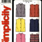 Simplicity Sewing Pattern 5376 Misses Size 8-18  Easy Lined Vests Collar Variations