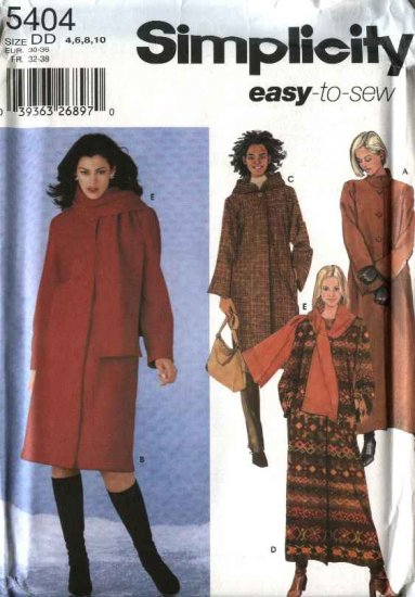 Simplicity Sewing Pattern 5404 Misses Size 4-6-8-10 Easy Lined Long Short Winter Coat Scarf