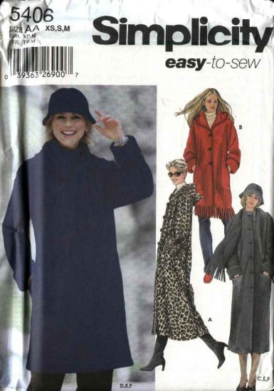 Simplicity Sewing Pattern 5406 Misses Size 6-8-10-12-14-16 Easy Hooded Long Short Coat Scarf Hat