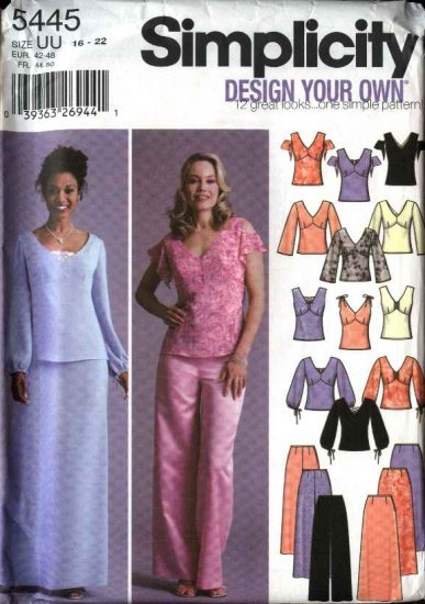 Simplicity Sewing Pattern 5445 Misses Size 16-22 Wardrobe Formal Prom Evening Tops Skirts Pants