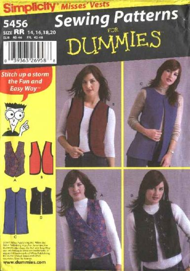Simplicity Sewing Pattern 5456 Misses Size 14-20 Easy Unlined Lined Long Short Vest