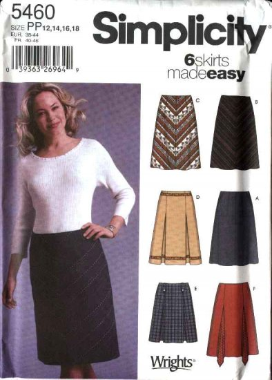 Simplicity Sewing Pattern 5460 Misses Size 12-18 Easy Fitted A-Line Pleated Godet Skirts Mini-Skirt