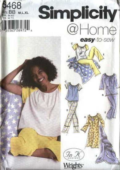 Simplicity Sewing Pattern 5468 Misses Size 4-12 Easy Baby Doll Nightgown Top Pants Blanket Pajamas