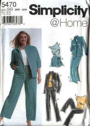 Simplicity Sewing Pattern 5470 Womans Plus Size 18W-24W Wardrobe Workout Pants Skirt Jacket Top