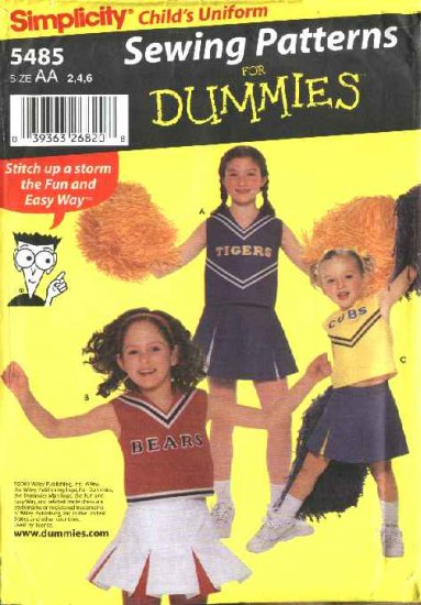 Simplicity Sewing Pattern 5485 Girls Size 8-10-12 Cheerleading Uniform Top Pleated Skirt Panties