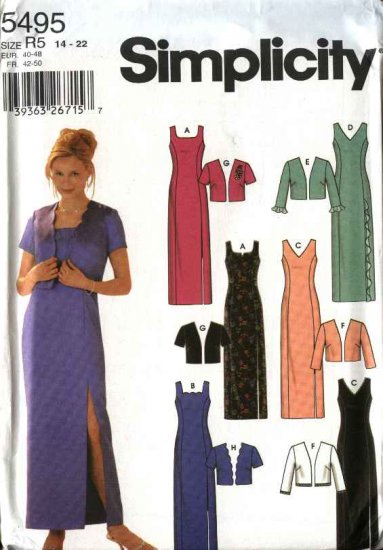 Simplicity Sewing Pattern 5495 Size 14-22 Prom Formal Evening Straight Gown Dress Jacket
