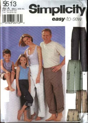 Simplicity Sewing Pattern 5513 Mens Misses Boys Girls Children All Sizes Easy Pants Shorts Capris
